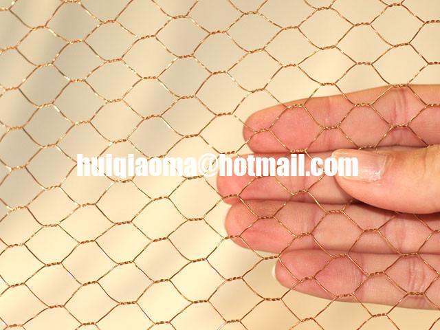 Brass hexagonal wire mesh woven decorative